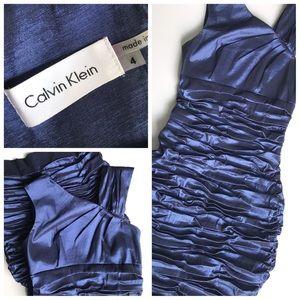 Calvin Klein Blue Ruched Body Con Dress